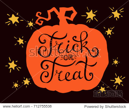 Trick or treat  hand drawn lettering on  pumpkin. Text banner or background for Happy Halloween  hand drawn vector illustration.