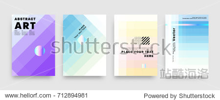 Covers templates set with bauhaus  memphis and hipster style graphic geometric elements. Applicable for placards  brochures  posters  covers and banners. Vector illustrations.