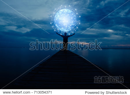 Abstract science  circle global network connection in hands on night sky background / soft focus picture / Blue tone concept