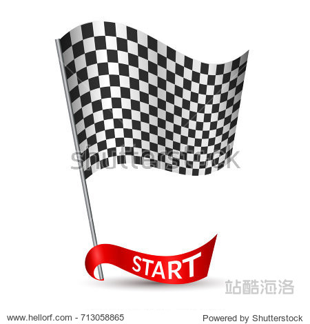 Racing checkered flag with red ribbon and inscription Start on white background Vector