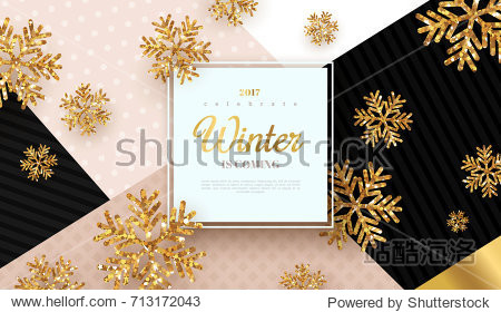 Christmas background with gold snowflakes. Vector illustration. Square frame with place for text on trendy geometric backdrop. Winter template design for posters  flyers  brochures or vouchers.