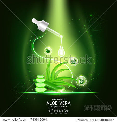 Aloe Vera Serum and Collagen Vitamin Background Vector for Skin Care Cosmetic Products.