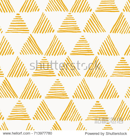 Seamless hand drawn geometric pattern with yellow striped triangles