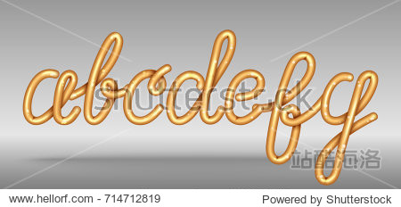 Shiny golden glossy font sample with English letters a b c d e f g that float in air and cast shadow isolated cartoon vector illustration on grey background.