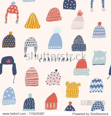 Christmas greeting card with winter knitted hats.