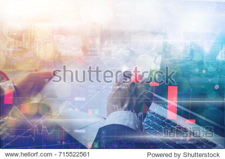 Double exposure of business man and digital stock market financial concept