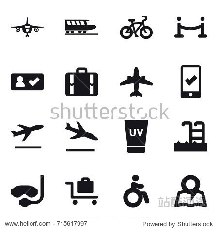 Set of 16 vector icons such as plane  train  bike  vip fence  check in  suitcase  airplane  mobile checking  departure  arrival  uv cream  pool  diving mask  baggage trolley  invalid  map