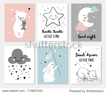 Little bear  rabbit  moon and star  cute characters set  posters for baby room  greeting cards  kids and baby t-shirts and wear