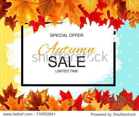 Abstract Vector Illustration Autumn Sale Background with Falling Autumn Leaves. EPS10