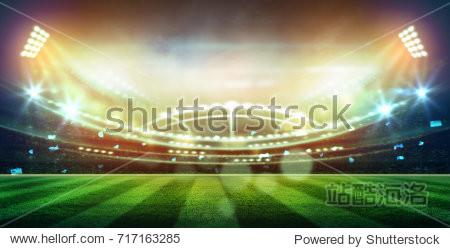 lights at night and football stadium 3D