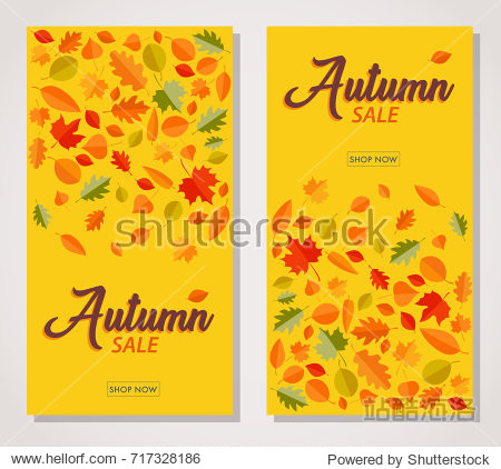Two vertical Autumn sale banners with falling Autumn leaves