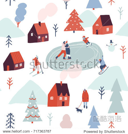 Christmas seamless pattern in vector. Winter season illustration with people are skiing  ice skating  sledding.