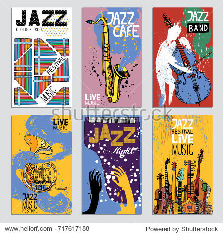 Poster for the Jazz Festival with Musical Instruments. Hand Drawn illustration with Different Ink Textures.