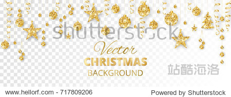 Banner with sparkling Christmas glitter ornaments isolated on transparent background. Golden fiesta border. Festive garland with hanging balls and ribbons. Great for New year party posters  headers.