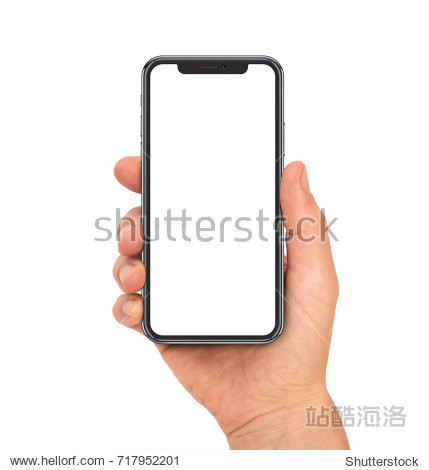 Woman hand holding the black smartphone with blank screen and modern frame less design - isolated on white background