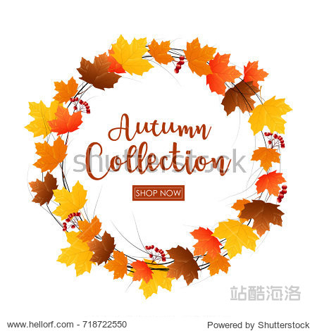 Vector illustration of Round frame of autumn leaves