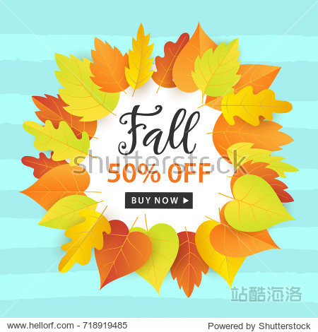 Autumn Sale Fashionable Banner Template with Colorful Fall Leaves on bright trendy blue background. Shopping Discount promotion. Poster  card  flyer  label trendy design. Vector illustration