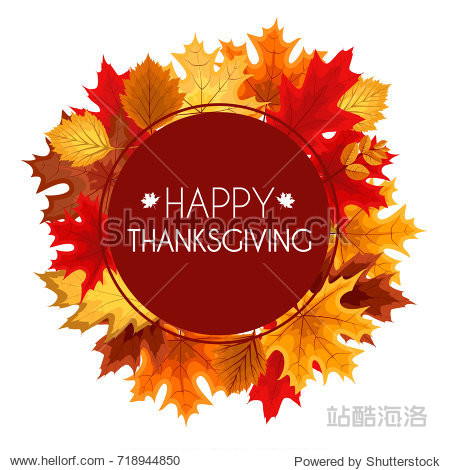 Abstract Vector Illustration Autumn Happy Thanksgiving Background with Falling Autumn Leaves. EPS10