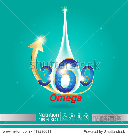 Nutrition Omega Calcium and Vitamin - Concept Logo Products for Kids.