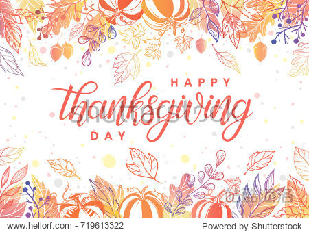 Thanksgiving typography.Hand drawn lettering with stylized pumpkins leaves acorns and confetti in fall colors.Thanksgiving design perfect for prints flyers banners  invitations special offer and more.
