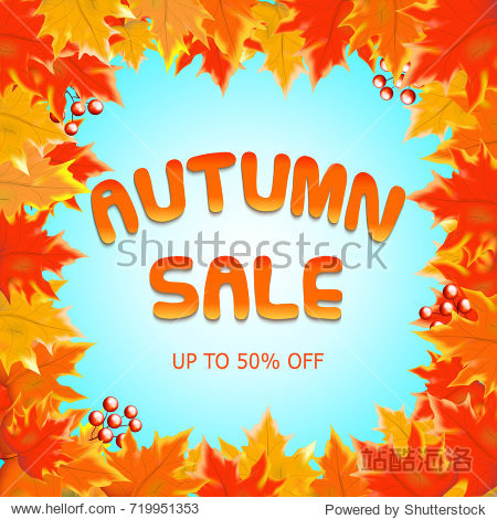 Autumn sale vectordesign with autumn sale text in blue background and collection of fall seasonal leave boarder frame. Vector illustration