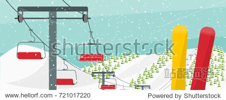 Winter ski resort conceptual vector illustration. Ski lift  snowboards  fir trees  hills  snow falling. Winter activities advertising flyer.