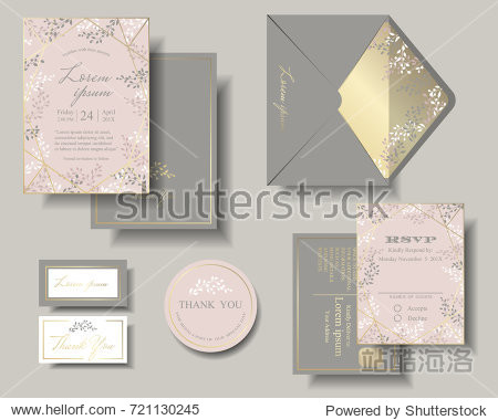 Set of Wedding Invitation Card . Pink and Gray Color Tone.  Leaves round of frame has blank space for your text. RSVP Card for Response. Envelope for this theme.Stickers.Tags.Vector/Illustration