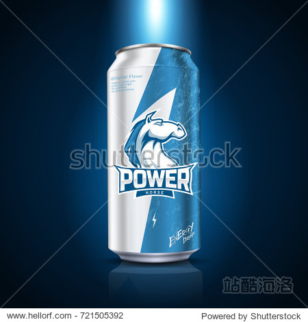 Energy drink package design  blue and white tone with lightning and horse pattern  3d illustration