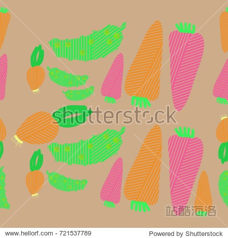 Vegetables striped seamless  pattern  . Hand drawn.