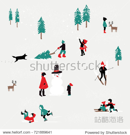 KIDS PLAYING IN THE SNOW  WINTER CHRISTMAS PATTERN. Editable and repeatable design pattern or greeting card for the holidays. Vector illustration file.