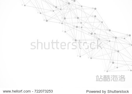 Geometric abstract background with connected line and dots. Structure molecule and communication. Scientific concept for your design. Medical  technology  science background.  illustration.