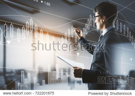 Side view of handsome businessman with document in hands drawing abstract forex chart in blurry interior with sunlight. Fund management concept. Double exposure