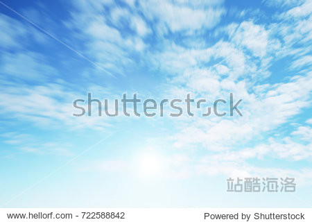 Sunshine clouds sky during morning background. Blue white pastel heaven soft focus lens flare sunlight. Abstract blurred cyan gradient of peaceful nature. Open view out windows beautiful summer spring