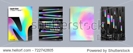Colorful covers design set. Abstract shapes  holographic  fluid and liquid colors  trendy gradients. Futuristic vector posters.