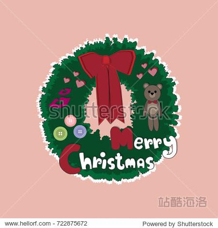 Cute Christmas Wreath Vector