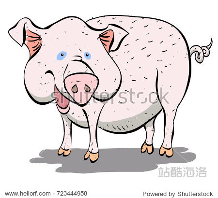 Funny pig smiling cartoon image. Artistic freehand drawing.