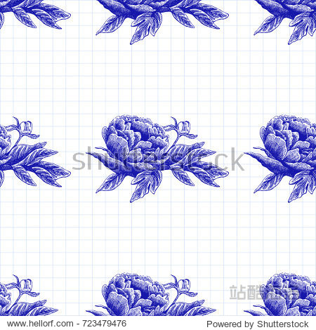Seamless vector flower peony rose pattern with sketch flowers and leafs. Hand drawn image