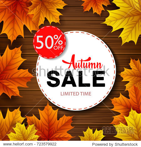 Vector illustration of White round frame with autumn sales on wooden background