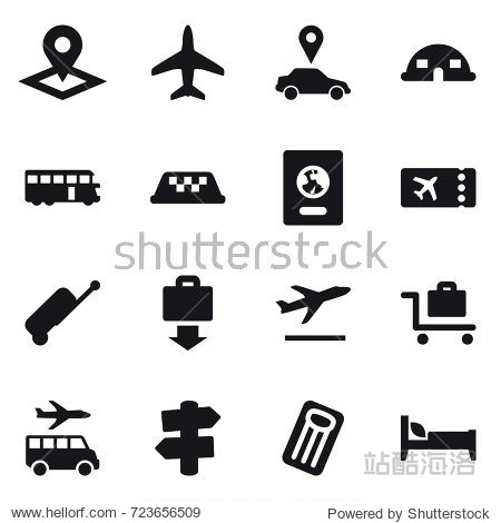 16 vector icon set : pointer  plane  car pointer  dome house  bus  taxi  passport  ticket  suitcase  baggage get  departure  baggage trolley  transfer  signpost  inflatable mattress  bed