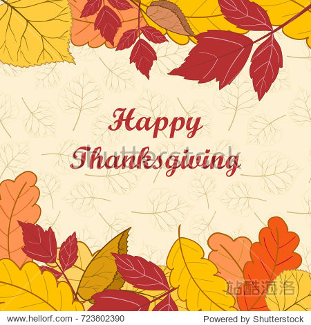Happy Thanksgiving Day.Frame with bright autumn leaves on a light background. Greeting card  banner  flyer.Vector illustration.Hand drawn.