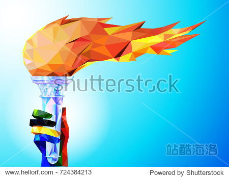 Torch  Flame. A hand from the Olympic ribbons holds the Cup with a torch on a blue background in a geometric triangle of XXIII style Winter games. Olympic games