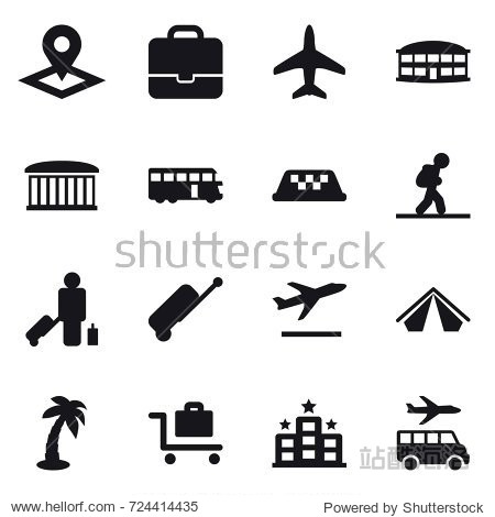16 vector icon set : pointer  portfolio  plane  airport building  bus  taxi  tourist  passenger  suitcase  departure  tent  palm  baggage trolley  hotel  transfer