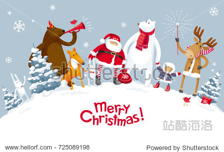 Christmas Party in the winter forest with the participation of Santa Claus and funny cartoon forest animals: elk  deer  fox  bear and polar bear. For posters  banners  sales and other winter events.