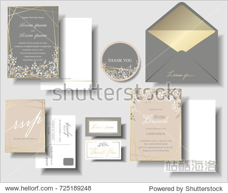 Set of Pink and Gray  has a small flower  and gold frame wedding invitation card template.Can be adapted to use for birthday. Invitation cards minimalist style. Vector/Illustration.