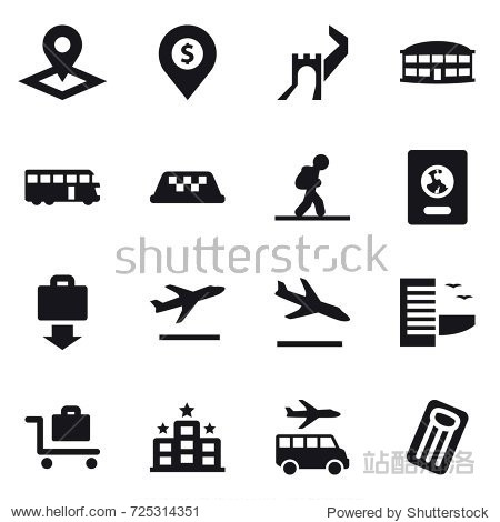 16 vector icon set : pointer  dollar pin  greate wall  airport building  bus  taxi  tourist  passport  baggage get  departure  arrival  hotel  baggage trolley  transfer  inflatable mattress