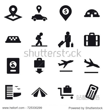 16 vector icon set : pointer  car pointer  dollar pin  dome house  taxi  tourist  passenger  suitcase  passport  baggage get  departure  arrival  hotel  tent  baggage trolley  inflatable mattress