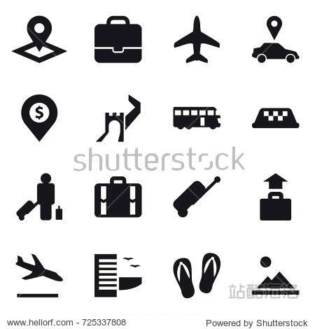 16 vector icon set : pointer  portfolio  plane  car pointer  dollar pin  greate wall  bus  taxi  passenger  suitcase  baggage  arrival  hotel  flip-flops  landscape
