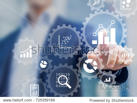 Business data analytics process management with a consultant touching connected gear cogs with KPI financial charts and graph, automated marketing dashboard