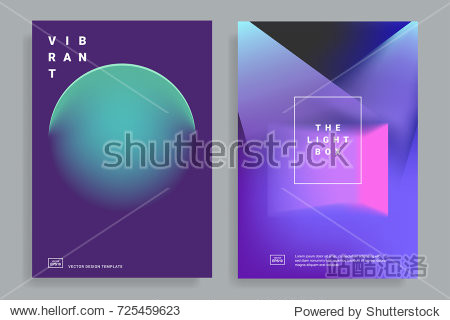 Set of covers design templates with vibrant gradient shapes. Trendy modern design. Applicable for placards  flyers  presentations  brochures  posters  covers and banners. Vector illustrations. Eps10
