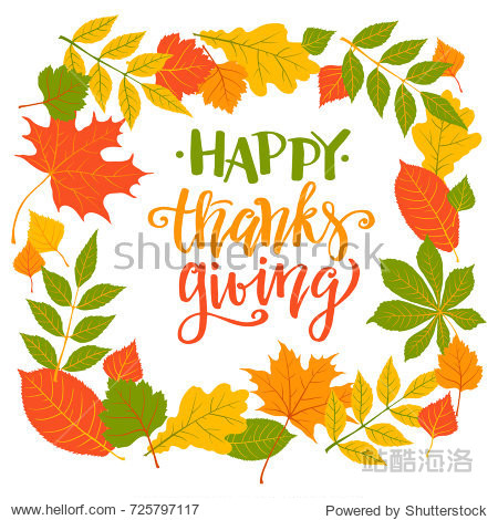 Happy Thanksgiving  autumn holiday background  hand written lettering  vector illustration.